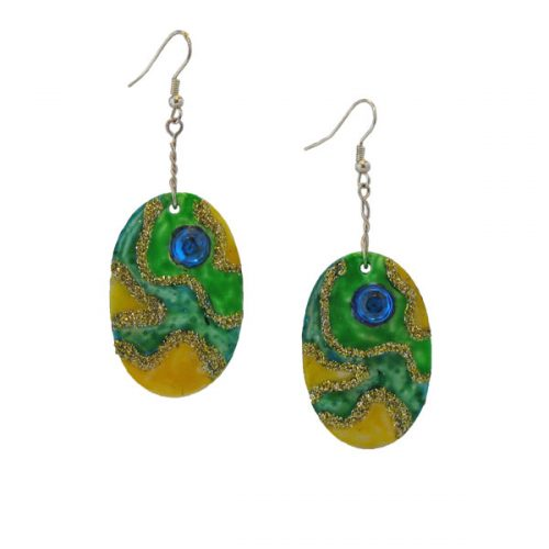 Shell Earrings Green and Yellow