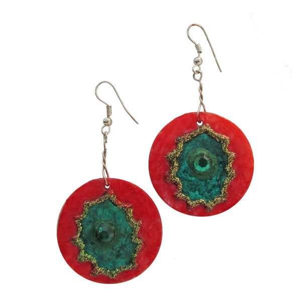 Festive Red-Green Earrings