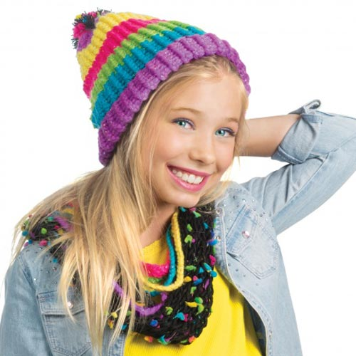 Style Me Up Rainbow Knitting Hat