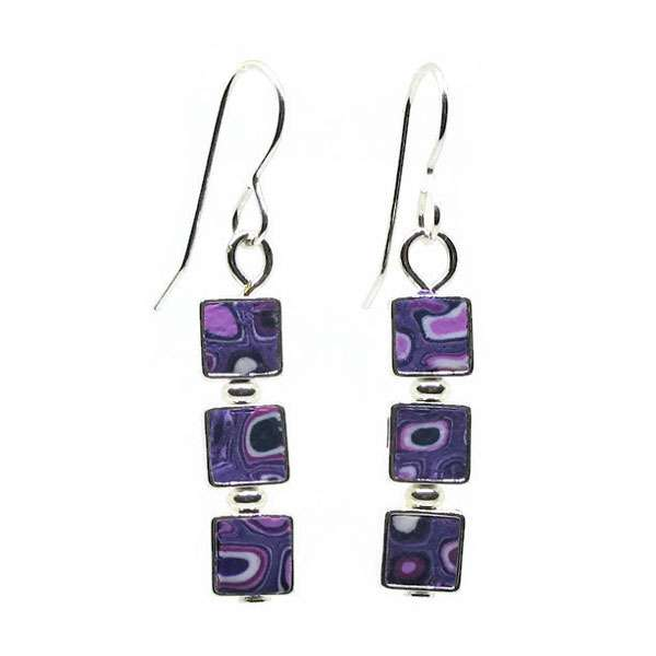 3 Square Mosaic Earrings