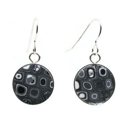 Round Black Mosaic Earrings