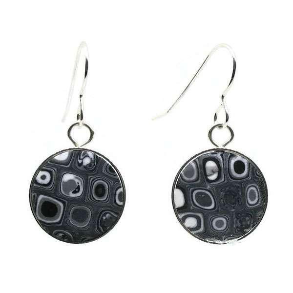Round Black Mosaic Earrings
