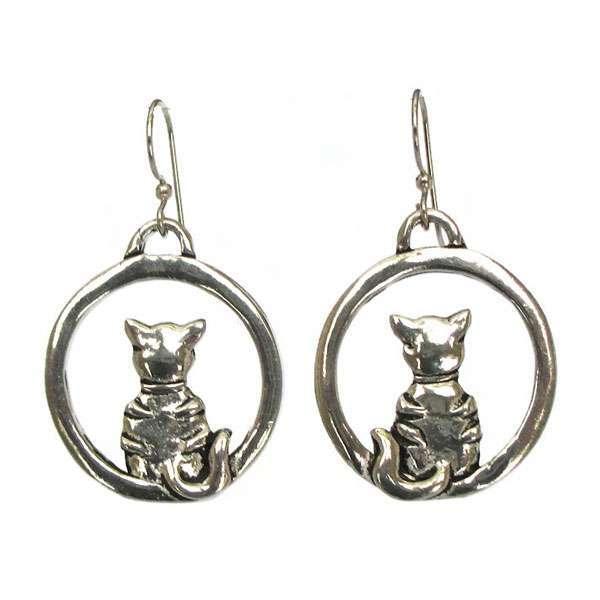 Cat Hoop Earrings