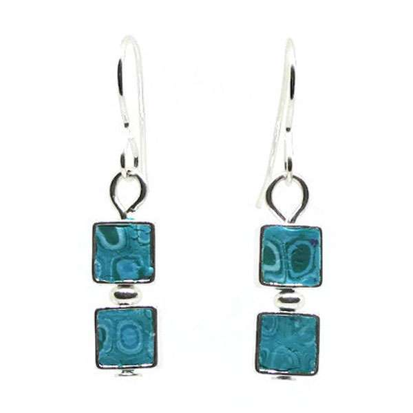 Turquoise Blue Mosaic Earrings
