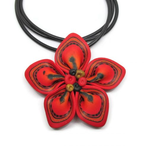 Origami Red Flower Pendant