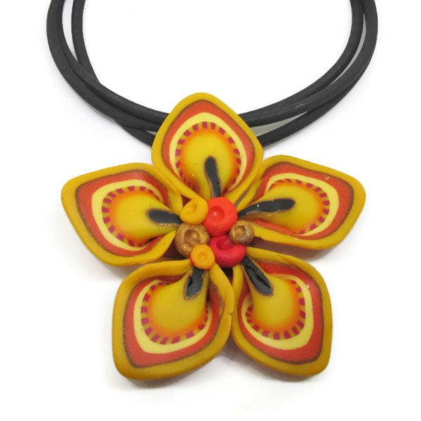Yellow Flower Origami Pendant
