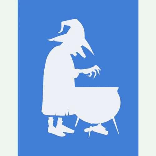 Witch Stirring Cauldron Stencil