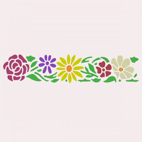 Pretty Flowers Border Stencil