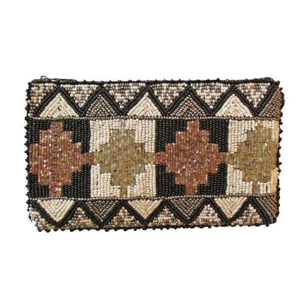 Metallic Totem Design Beaded Bag