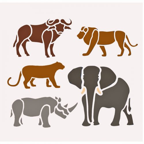 Big Five African Animal Stencil