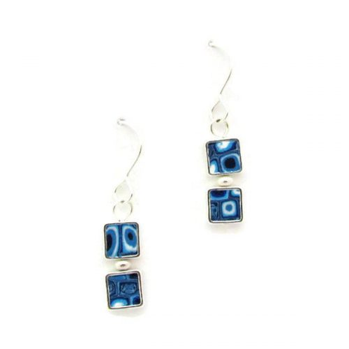Blue Mosaic Two Square Earrings