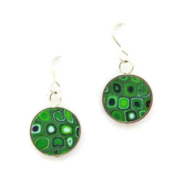 Circle Emerald Mosaic Earrings