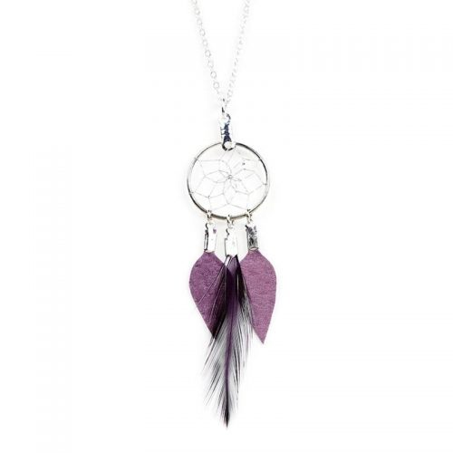 Purple Dream Catcher Feather Pendant