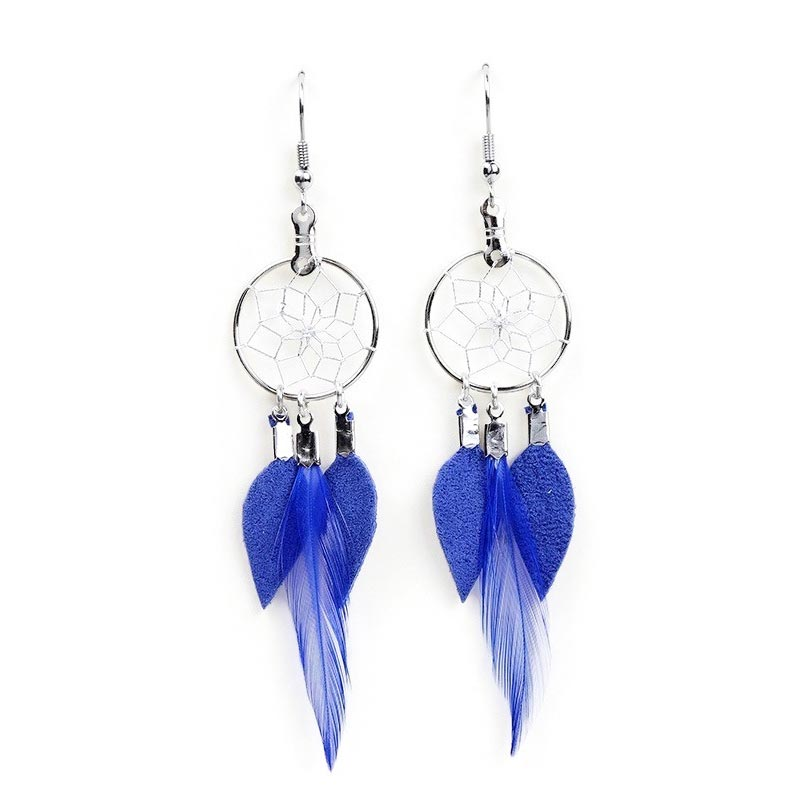 Royal Blue Dream Catcher Feather Earrings