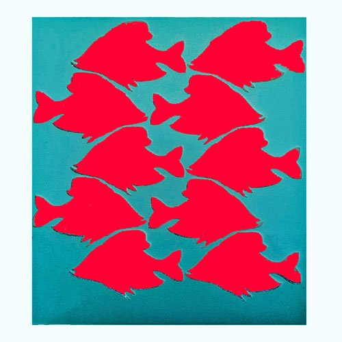 School of Fish Stencil
