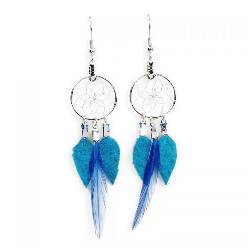 Turquoise Dream Catcher Feather Earrings