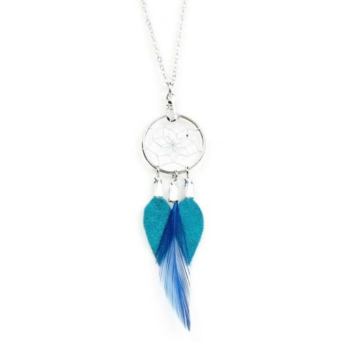 Turquoise Dream Catcher Feather Necklace