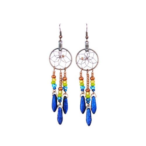 Multi-Coloured Bead Dream Catcher Earrings