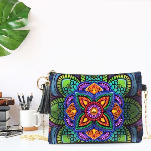 Mandala Crossbody Bag Design Diamonds Art